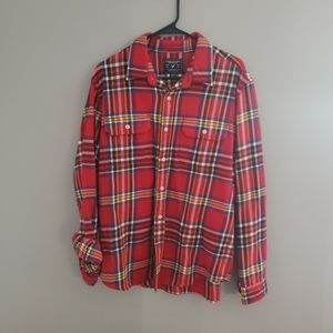 American Eagle red plaid flannel large